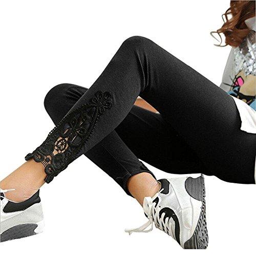 Ularma Fashion Women Leg Triangle Side Lace Leggings