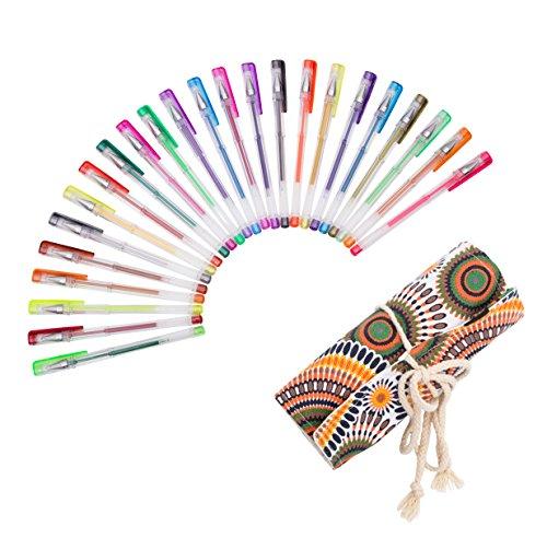 Exerz EXGL24A 24 STK farbige gel Stifte im Stoffbündel - Rolltasche, feine Tinten-Kugelschreiber, kräftige Farben, leichter Fluss, enthält Glitzerfarben, neon, metallic und glitzer neon Farben - Kreis