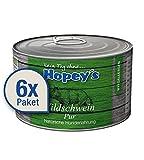 Hopey's hypoallergenes Hundefutter: 100 % Wildschweinfleisch, Single Protein, Getreidefrei 6x 440g Dosen