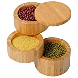 WOLTU KZ02 Gewürzbox Gewürzhalter mit Deckel, Salz oder Spice Box rund, Bambus, drehbar, natur