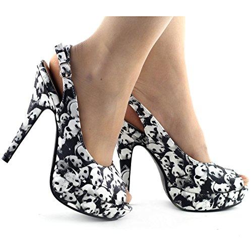 Visualizza Story Sexy Ladies Bow cinturino alla caviglia stiletto della piattaforma pompa i pattini, LF30412 Nero