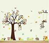 HALLOBO® Wandtattoo XXXL Eulen Affen Fuchs Baum Wald Tier Wandaufkleber Wandsticker Kinderzimmer Kinder Baby