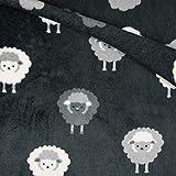 Kuschel Fleece, Fleece Stoff Meterware ab 50cm mit Schafen