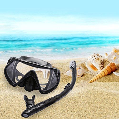 Bezzee-Dive Wasserfest Silikon Sporttaucher Tauchset Erwachsene Schnorchler Tauchmaske Klarsicht Gehärtetem Glas Bequem Atmen Dry Schnorcheln Set und Ventil mit einer schönen Tragetasche
