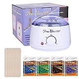Wax enthaarung, QITAO Wax Warmer,Wachs Haarentfernung Wachswärmer/Weicher Heizer mit 500ml Wachskessel,50 pcs Holzspatel+4 verschiedene duftende Wachsbohnen,Weiß