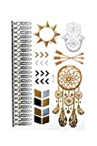 MyBeautyworld24 Gold Metallic Flash Tattoos in verschiedenen Designs Flash Tattoos Body Tattoo Armband Halskette Körperschmuck