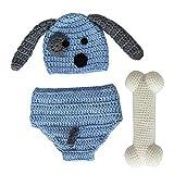 DRAULIC Baby Fotografie Requisiten Outfit mit Hunden Mustern, Perfekt für Unvergessliche Fotoshootings aus Baumwolle 100 Handgefertigt,