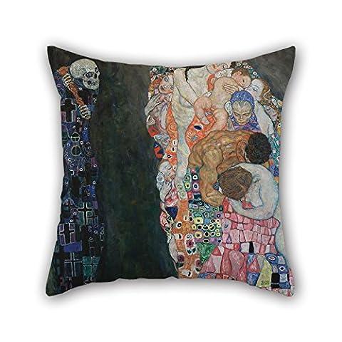Elegancebeauty Peinture à l'huile Gustav Klimt–La Mort et la vie Taie d'oreiller 45,7x 45,7cm/45par 45cm Meilleur Choix pour Noël, GF, festival, à la maison, au bureau, literie, Lui avec double