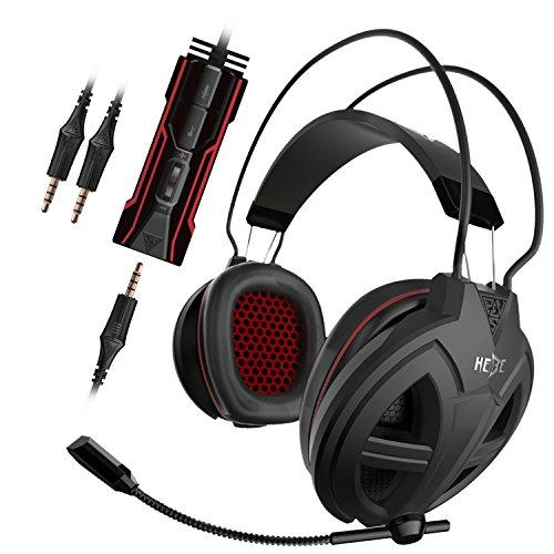 KWORLD G15PC Gaming Over-Ear-Headset mit 40mm Treiber & LED-Licht Betonung auf Virtual Surround Sound, Lautstärkeregler und Geräuschisolierung, schwarz GHS3300 -