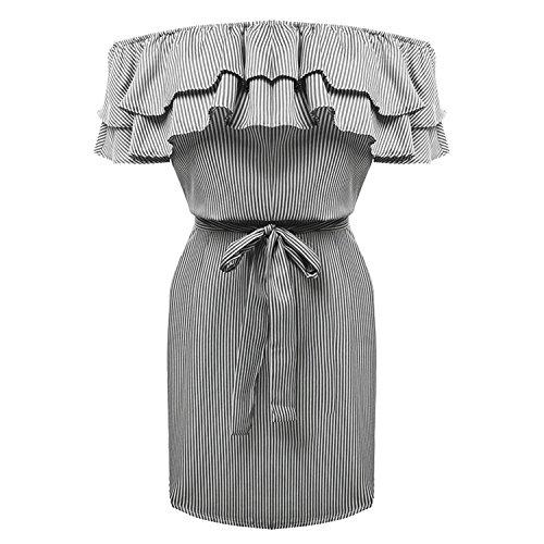 Maniche Corte Off The Shoulder Spalle Scoperte fondo a volant A Righe Rigato cintura in vita Mini Bodycon Aderente Fasciante Dress Vestito Abito Nero