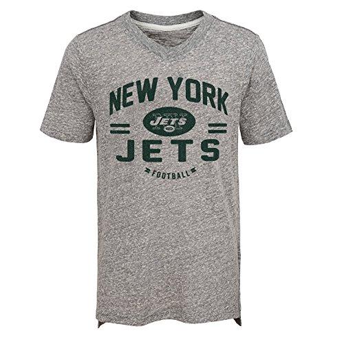 Outerstuff NFL New York Jets Jungen Youth Heritage Short Sleeve Tri Blend Tee, Jungen, 9K1B7FA5EF10 NYJ HGY-BXL20, grau meliert, XL
