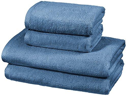 AmazonBasics - Handtuch-Set, schnelltrocknend, 2 Badetücher und 2 Handtücher - Seeblau