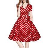 Mujer Faldas, Honestyi,Mujeres Vintage vestido 50S 60S Swing Pinup Retro Casual ama de casa fiesta bola (XL, rojo)