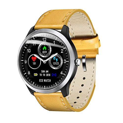 XWEM EKG Smart Armband, EKG + PPG Überwachung HRV Bericht Blutdruck Herzfrequenz Test Smart Reminder Sport Armband Kompatibel Mit Android-System Ios-System,Yellow