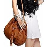 OVERMAL Women Leather Messenger Hobo Bags Handbag Shoulder Bag Tote Purse (Brown)