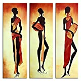 IPLST@ Handgemaltes modernes abstraktes Afrikanische Frau Leinwand Ölgemälde , große Wandbilder für Hauptdekoration -Set von 3 (kein Rahmen, ohne Bahre)