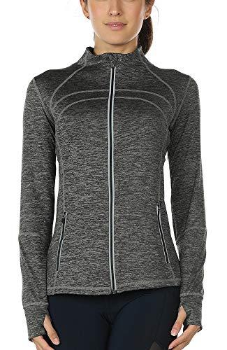 icyzone Sport Jacke Damen Langarm Shirt - Trainingsjacke voll Reißverschluss Laufshirt mit Daumenloch und Seitentasche (Charcoal, M)