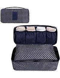 GossipBoy Neceser multiusos, con divisores para almacenar ropa interior, para sujetadores y braguitas, bolsa portátil para viajes, tela, azul marino, 13x12x26