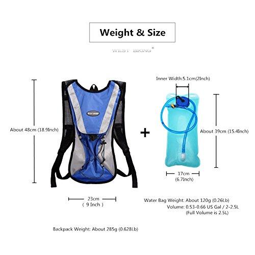 West Biking stärker Hydration Backpack + 2,5l Wasser Rucksack, muli-functions Kleine Werkzeuge Tasche, leichte Tasche für Reiten Camping Bergsteigen Bergsteigen, 6Farben Blaues Set