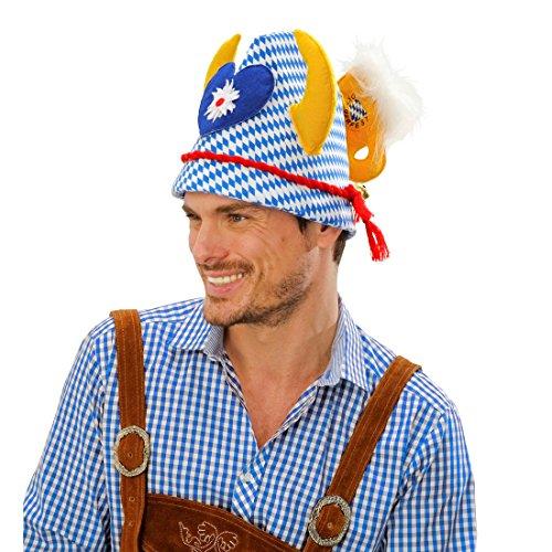 Kopfbedeckung Trachten (Oktoberfest Hut Trachten Mütze Wiesn Geweih Kopfbedeckung Bayern Tirolerhut Bier Bayernhut Seppl)
