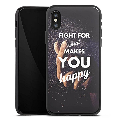 Apple iPhone X Silikon Hülle Case Schutzhülle Glück Motivation Leben Silikon Case schwarz