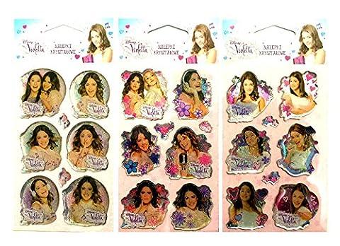 Maxi & Mini–Violetta 3Weihnachts Sticker 18Aufkleber Kristall mit den Pailletten–Dekoidee - Fisher Price Fogli
