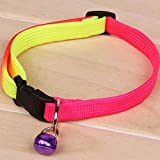 #10: Multi color Puppy Cat Nylon Adjustable Collar with Free Bell
