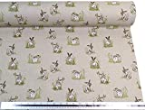 Wild Hasen Kaninchen Beige Leinen Optik Hochwertig Fabric