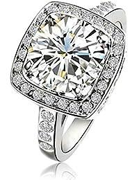 Yoursfs 18k plaqué Or blanc Solitaire en 3.5CT Diamant de simulation de Bague mariage pour Femmes ou Hommes comme cadeau d'anniversaire ou pour Fête