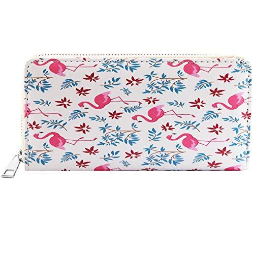 Damen Reißverschluss Geldbörse Portemonnaie Geldbeutel Portmonee Börse mit verschiedenen Motiven Einhorn Seestern Flamingo, Farbe:Modell 6