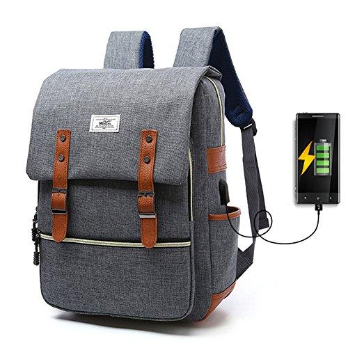 Ailin Online Laptop Rucksack mit USB Ladeanschluss Mode Casual Reiserucksack Wasserdichte Große Fach Schulrucksack für Schule Reise Arbeit Sport 4 Farben zu Auswahl (Grau)