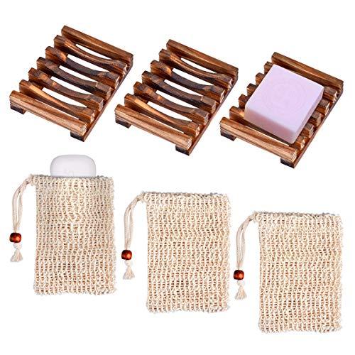 Queta Seifendose, Holz Seifenschalen Box mit Seifensäckchen Sisal Handarbeit Seifenhalter für Badezimmer Reise (Nussbraun)