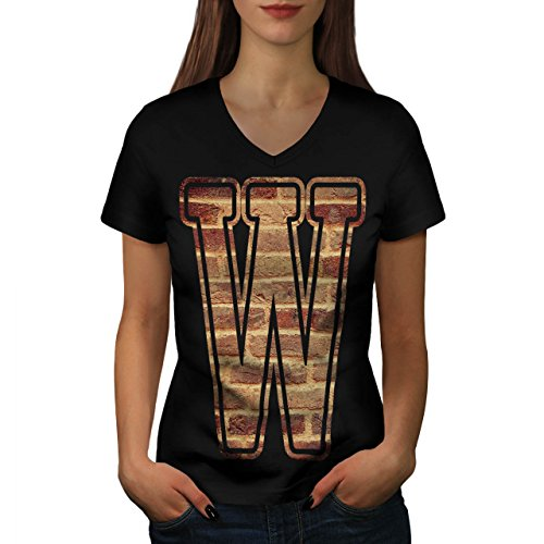 Rock Kostüm Grunge Star (Brief W Mauer Kunst Mode Grunge Modus Damen M V-Ausschnitt T-shirt |)