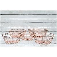 Tabs - Juego de cestas redondas de latón con alambre para frutas, 5 unidades