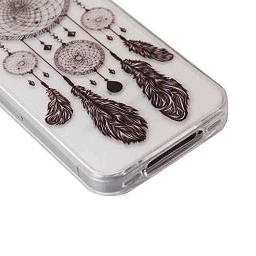 iPhone 5 5S SE Coque , YIGA Pinguin Noir Blanc Bleu Transparent 3D Crystal TPU Silicone Doux TPU Case Cover Housse Etui pour Apple iPhone 5 5S / iPhone SE Dreamcatcher