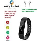 Anytech™ Android /IOS Compatible Bluetooth Band-115 Fitness Smart Band With Heart Rate Monitor And Blood Pressure & Oxygen Monitor For Android/iOS Devices (Black) For Apple,Iphone, Sony, Redmi,Xaomi,Samsung,Letv,Micromax,Oppo,Vivo,Xolo,HTC