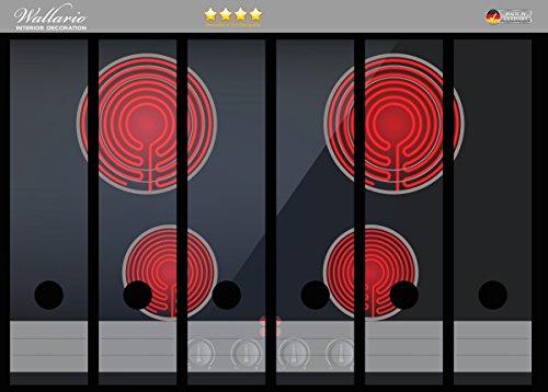 Wallario Ordnerrücken Sticker Aktives Cerankochfeld Induktionskochfeld Optik - Standard schwarz rot mit 4 Kochplatten und Bedienf in Premiumqualität - Größe 36 x 30 cm, passend für 6 breite Ordnerrücken
