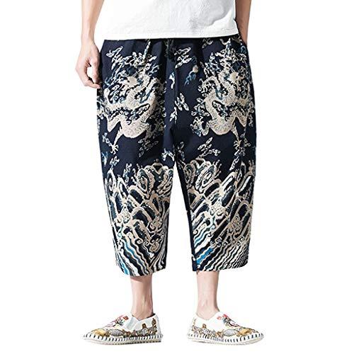 Pantalone Uomo Pantaloncini Jeans/Pantaloni Casual da Uomo in Cotone e Lino con Stampa a Vita Bassa in Cotone e Lino Casual Pantaloni Harem/Blu Scuro/M-5XL