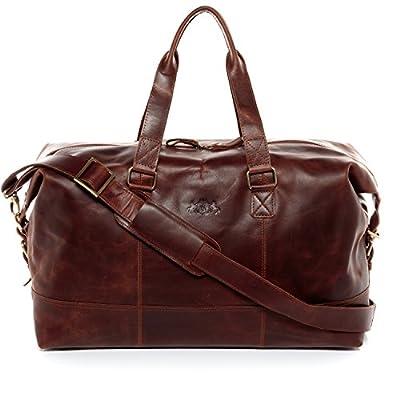 SID & VAIN® sac de voyage YALE unisexe - grand fourre-tout besace week-end style Vintage - sac sport bagages cabine à main homme et femme en cuir véritable