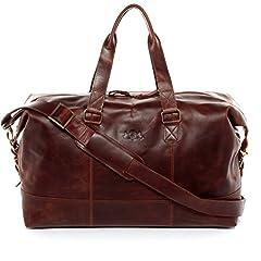 Idea Regalo - SID & VAIN® borsa da viaggio vera pelle vintage YALE grande borsa da weekend 35 l borsa da sport uomo donna cuoio marrone
