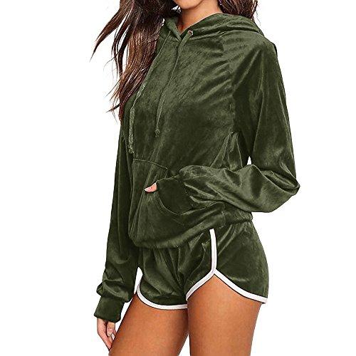 Ansenesna Hoodie Kapuzenpullover Damen Herbst Sport Locker Langarm Elegant Pullover Tops und Shorts Für Mädchen Teenager (Armee grün, S) Armee-hoodies
