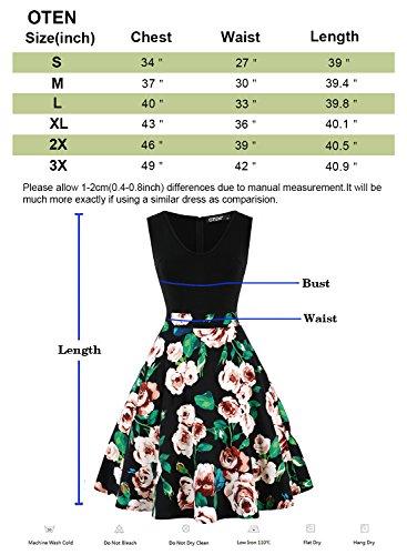 OTEN Damen V-Ausschnitt Nähen Blumenmuster Kontrast Eine Linie Abschlussball Abendkleid Schwarz