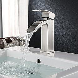 HOMFA Waschtischarmatur Wasserfall Einhebel Einhandmischer Mischbatterie Wasserhahn Armatur für Bad Badezimmer Waschbecken, Nickel gebürstet, HF001