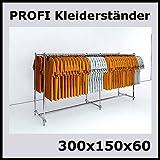 300x150x60 PROFI KLEIDERSTÄNDER BEKLEIDUNGSSTÄNDER GARDEROBE FREISTEHEND-W300