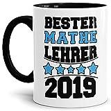 Tasse Bester Mathe-Lehrer/Schule/Abi/Abschied/Lehrer-Geschenk/Geschenk-Idee/mit Spruch/Innen & Henkel Schwarz