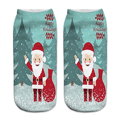 ual Low Cut Socken Weihnachten Thanksgiving Baumwolle Socken Kunst Malerei Festival Socken, Weihnachtsmann 1 ()