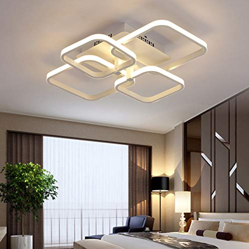 LED Wohnzimmerlampe Deckenleuchte Dimmbar mit Fernbedienung, Modern Eckig Badlampe Flurlampe Deckenlampe, Chic Blütenform-Design Metall Acryl Deckenbeleuchtung für Schlafzimmer Esszimmer Küche Lampen