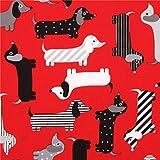 roter Dackel bunter Hund Stoff Urban Zoologie von Robert