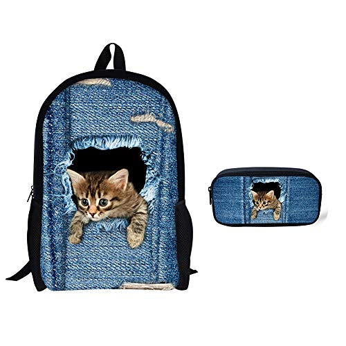 Unisex 3D Süße Katze Süße Katze Schultaschen für Mädchen im Teenageralter Rucksäcke für die Schule mit Federmäppchen Perfekt für Schule und Reisen,4 (Scanner-11x17)