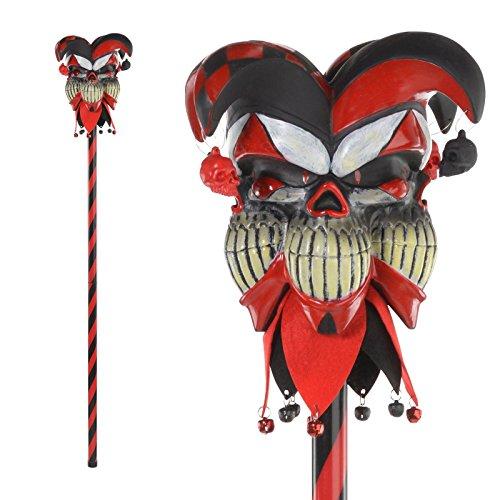 Fancy Dress VIP Böser Hofnarr Gehstock Halloween mittelalterlich Clown Kostüm Zubehör (Halloween Krazed Kostüm Hofnarr)